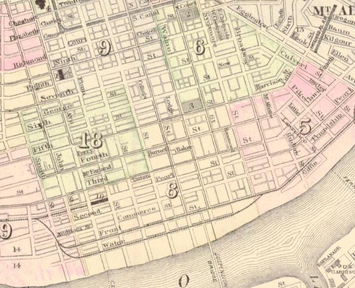 Cropped section of Gray's New Map of Cincinnati (1876), showing Harrison Street in southeast corner of the Sixth Ward. Wood's address is given as No. 15 Harrison St. in 1876, and she is listed as Woods Henrietta, widow, h. 19 Harrison in the city directory.